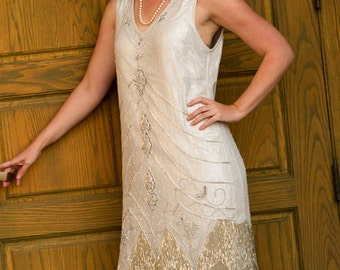 1920s Style SILVER Beaded Flapper Dress- S, m, l, xl, and Plus Sizes