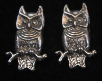 Owls - Sterling Silver Stud Earrings