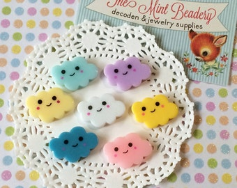Kawaii Decoden Cabochons - Happy Little Clouds - Decoden Cabochons - Cloud Cabochons ( 7 pcs )