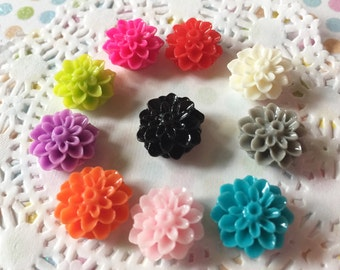 10 piece flower cabochons - resin flowers - flower cabochon mix - resin flower mix lot - small resin flowers - small flower cabochons