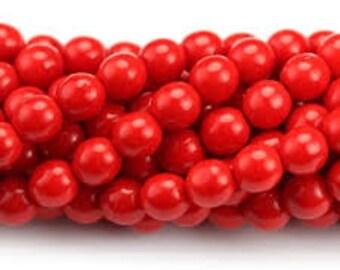 Czech Glass Druk 6mm - Pack 35 Beads - Opaque Red