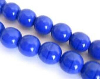 Czech Glass Druk 6mm - Pack 35 Beads - Opaque Blue