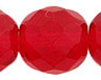 Czech Firepolish - 12mm  - Dark Red - Pack 15