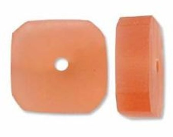 Resin Square Slice - Salmon - 12mm Irregular - 30 pieces