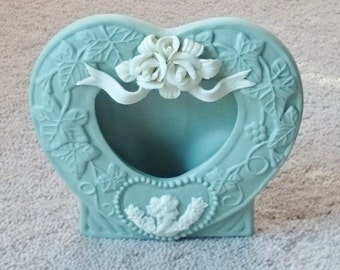 Picture Frame, Heart Shaped Cameo Porcelain Green Frame, Valentines Day,  #153