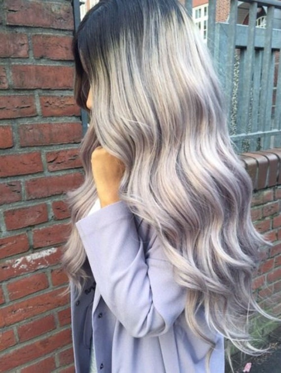 Balayage dip dye 8a remy grey ombre hair extensions u part like this item pmusecretfo Image collections