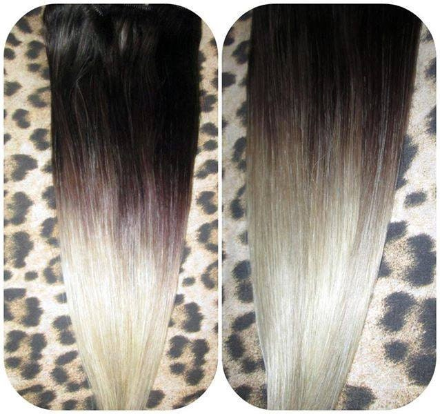 Ombre balayage human invisible hair extensions flip in wire zoom pmusecretfo Images