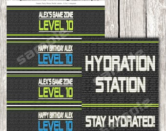 Video Game Party Drink Wraps & Hydration Sign - Gamer Birthday Party - DIY Printable