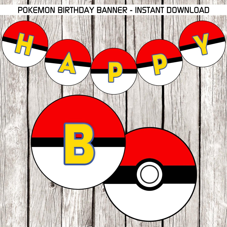 Pokemon Birthday Banner Pokemon Birthday Party DIY