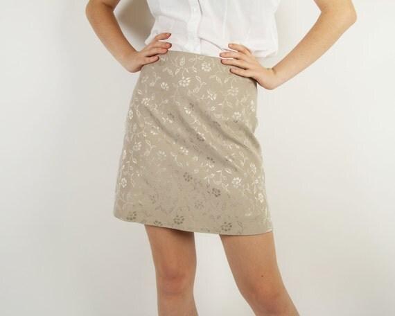 beige vintage pencil skirt embossed midi skirt glowe flower