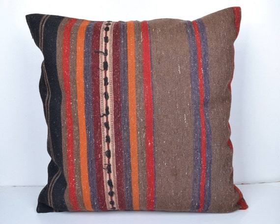 Items similar to 24 x 24 Floor Kilim pillow cover Handmade kilim Pillow cushion Burlap Pillow ...