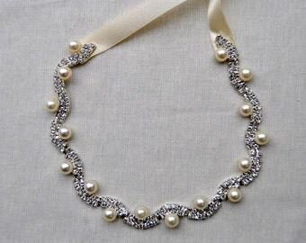Rhinestone pearls Tie on Headband headpiece, Prom Headband, Wedding Headband, ribbon headband, Bridal rhinestone head piece, hair piece