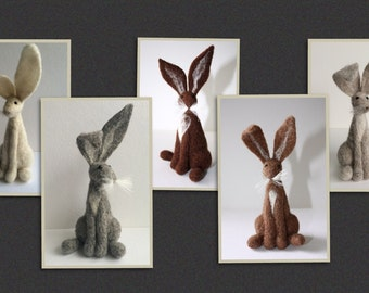 2 x needle felt hare kits special offer ! ( Starter kit )