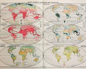Vintage Map, The World, Climate, Vegetation & Population. Published 1930, Lovely Colours