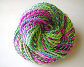 Green and Pink 01--Hand Spun Hand Dyed Corriedale Wool, 2 ply, 3.4 oz, 85 yards