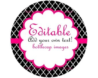 Editable Bottle Cap Images ~*DIGITAL*~ Black and Pink Quatrefoil ~*Digital Collage Sheet*~ 1 Inch Printable Circles 102