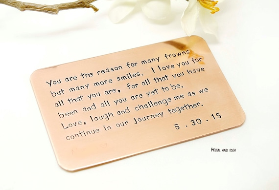 Wallet Insert Card Customized Personal Messages Gift For