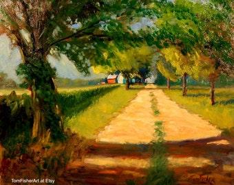 Original Large Farm Trail original art impressionist farm landscape oil painting art summer painting road, tree and corn field by Tom Fisher