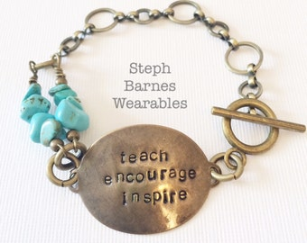 Teacher bracelet in bronze with turquoise detail