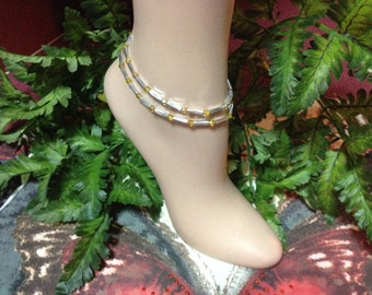 Topaz Anklet - Set of 2, Ankle Bracelet, Stretch Anklet, Beaded Anklet, Petite to Plus Size, Beach Anklet, Crystal Anklet, FREE SHIPPING