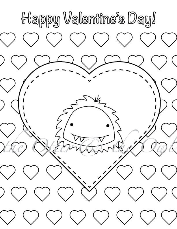 PDF Printable Valentine Yeti Colouring Page By TheOtterandtheOwl