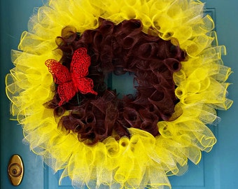 Sunflower Wreath, Deco mesh wreaths, Deco mesh sunflower wreath, Sunflower wreath mesh, butterfly wreath, sunflower butterfly wreath