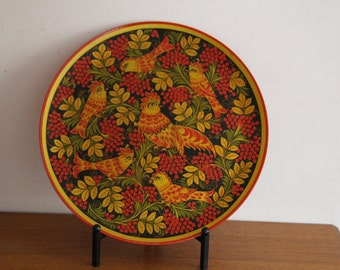 Russian folk art khokhloma serving plate 19in, FREE SHIPPING