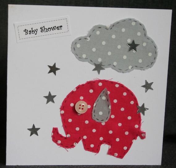 Handmade blank elephant 'Baby Shower' card