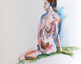 Girl(3) - watercolor painting (original)
