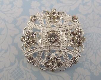 Mini Rhinestone Brooch / Bridal Brooch / Pearl and Crystal Brooch Component / SQB-17