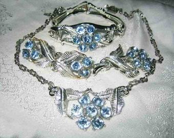Vintage 60s Blue Rhinestone Purea Necklace Bracelet Earrings Brooch