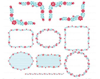 Digital Flower Frame Clipart, Digital Frame, Digital Border, Instant Download, Digital Graphic, Scrapbooking, Embellishment c181