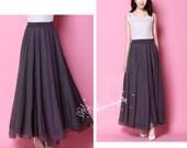 Chiffon Coffee Long Party Skirt Evening Wedding Lightweight Sundress Summer Holiday Beach Dress Bridesmaid Dress Maxi Skirt 13 color YM033