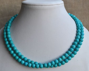 turquoise necklace,2-rows turquoise necklaces,wedding necklace,bridesmaids necklace, bridal necklaces, turquoise multi-strand necklace