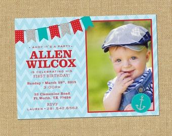 Nautical Birthday Invites Sailor Party Invitations Boy Birthday Party Invite Sailing Party Birthday Red and Teal Birthday Invites