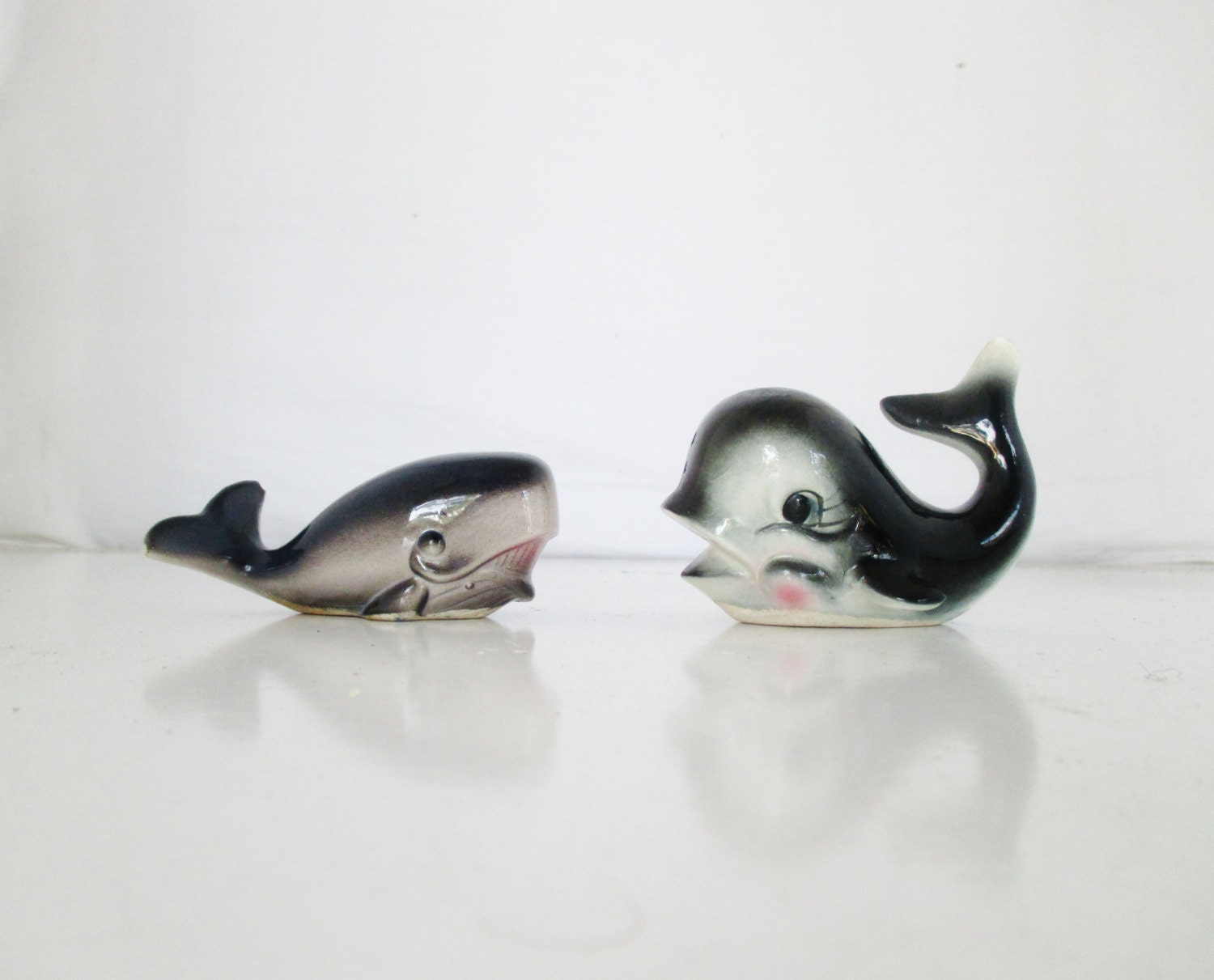 Vintage Whale Salt Pepper Shakers Nautical Kitchen Whale