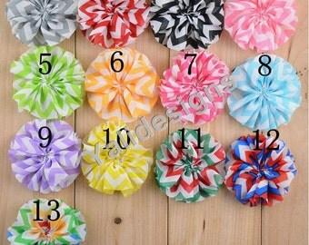 U Pick! 6.5CM 2.5'' inch Wholesale Chiffon Stripe Flower Shoes, Headband/Flower Headdress DIY Fabric Headband Accessories-Mixed Color-YTA51