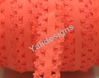 Neon Orange 3/4''  Picot Edge Stretch Lace Frilly edges elastic webbing,Lace for Headbands,Wholesale Headbands YTA64 5 or 10 or 50 yards