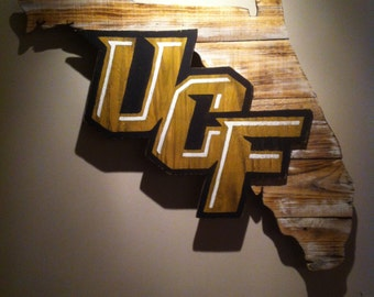 Wooden State of Florida with Central Florida logo