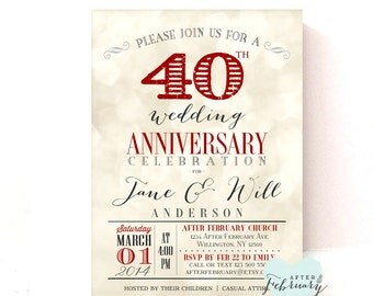 40th Anniversary Invitation - Ruby Red Wedding Anniversary - Light Bokeh Background -  Printable No.730