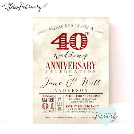40th Anniversary Invitation Ruby Red Wedding Anniversary