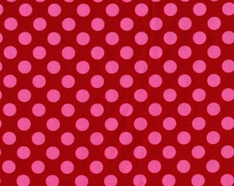Michael Miller fabric Ta Dot in berry, pink polka dot fabric by the yard, sewing quilting apparel fabric, Valentine Christmas fabric