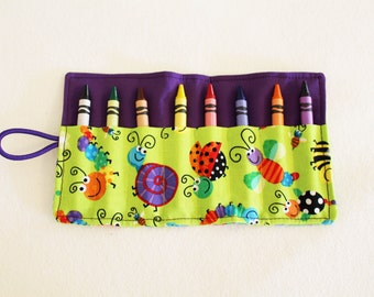 Little Bugs Crayon Roll - 8 Crayons Included