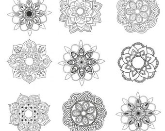 Set of 9 Mandala flowers - Temporary tattoos