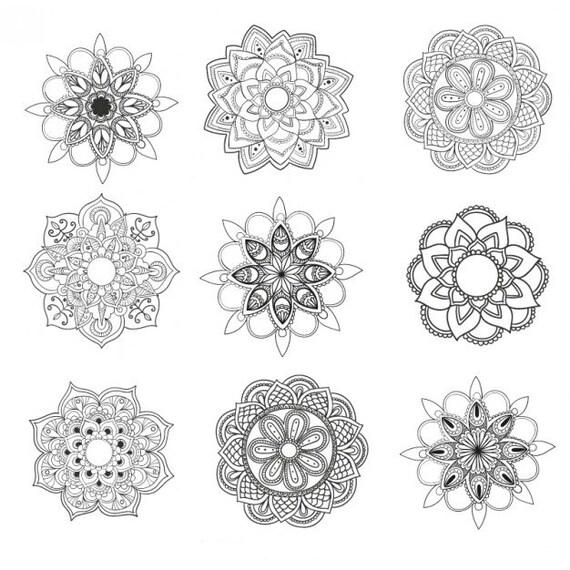Insieme di 9 mandala fiori tatuaggi temporanei for Minimal art nedir