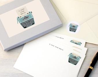 Personalised Typewriter Notecards Writing Set
