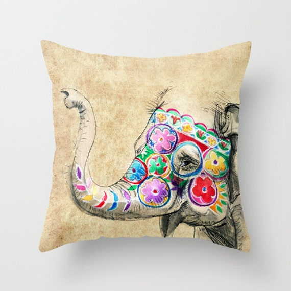 Elephant Pillow elephant decor animal pillow thailand by AWildLife
