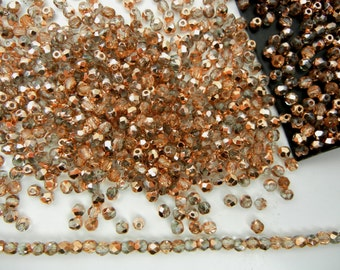 600 Crystal Capri Gold coated 3mm, Preciosa Czech Fire Polished Round Faceted Glass Beads, Czech Glass Fire Polish Beads