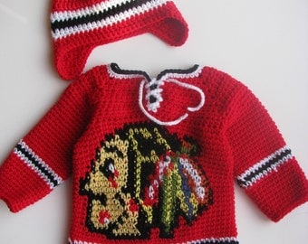 Chicago Blackhawks Baby Hockey Sweater and Hat