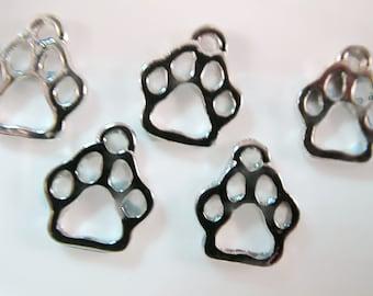 5 Paw Print Charms- 12mm- Dog Cat Bear Animal Lover